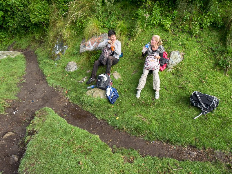 hikers taking a break on Volcan Santa Maria trail - GreatDistances