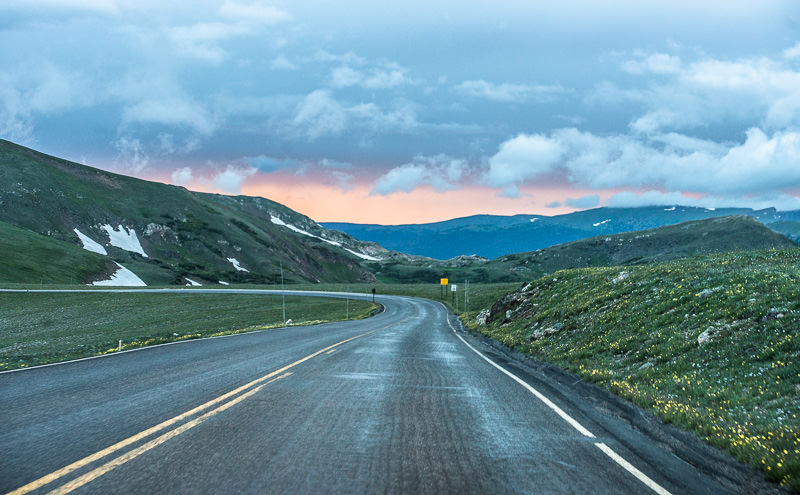 atop Trail Ridge Road at sunset. Rocky Mountain National Park. GreatDistances / Matt Wicks