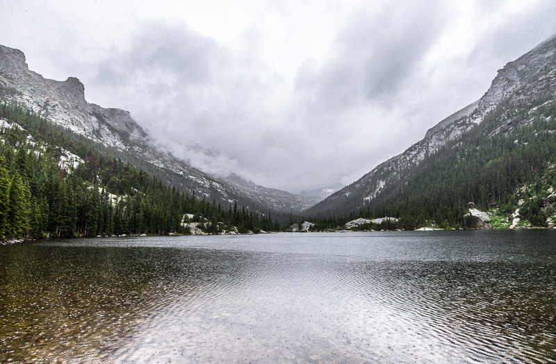 Mills Lake in the rain. Rocky Mountain National Park, Colorado. GreatDistances / Matt Wicks