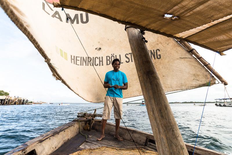 Dhow and captain Baji in Lamu, Kenya.  GreatDistances / Matt Wicks