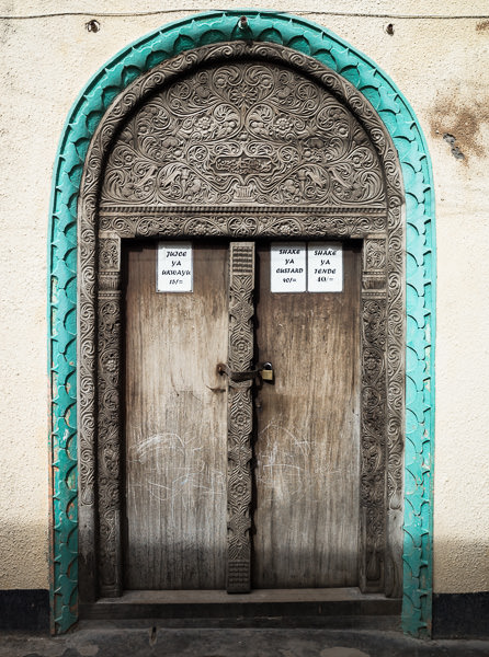 Beautiful, ornately carved Swahili doors are scattered throughout Lamu Town. GreatDistances / Matt Wicks