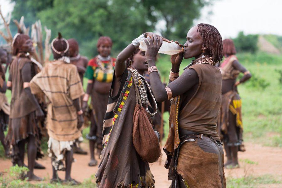 Women drinking alcohol at a Hamar Bull Jumping Ceremony. South Omo Part 2 - Greatdistances / Matt Wicks