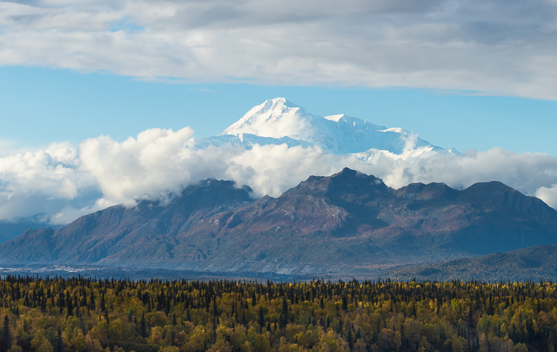 Denali, North America's tallest mountain, comes out from behind cloud cover. Viewed from Denali State Park, Alaska. GreatDistances / Matt Wicks - Two Weeks in Alaska: Selected Photos