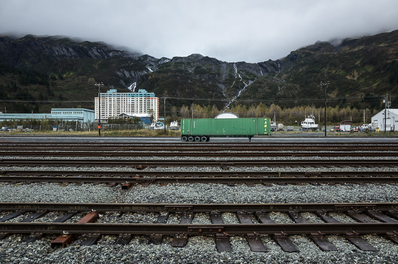 Whittier, Alaska as viewed from its train tracks. The vast majority of the town's ~200 residents live in the building deep left in frame. GreatDistances / Matt Wicks - Two Weeks in Alaska: Selected Photos