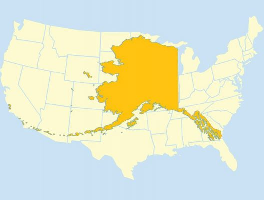 The size of Alaska compared to the contiguous 48 states.